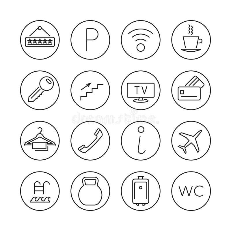 Ligne icônes minces de services hôteliers de vecteur réglées illustration stock