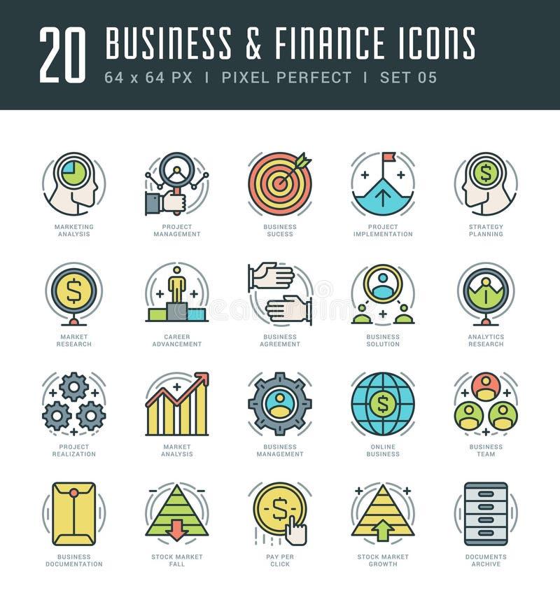 Ligne icônes réglées Concept linéaire mince plat moderne à la mode d'affaires et de finances de vecteur de course illustration libre de droits