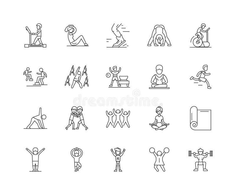 Ligne ic?nes, signes, ensemble de vecteur, concept d'exercice et de forme physique d'illustration d'ensemble illustration de vecteur