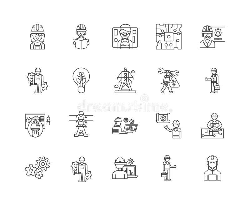 Ligne ic?nes, signes, ensemble de vecteur, concept d'?lectricien d'illustration d'ensemble illustration stock