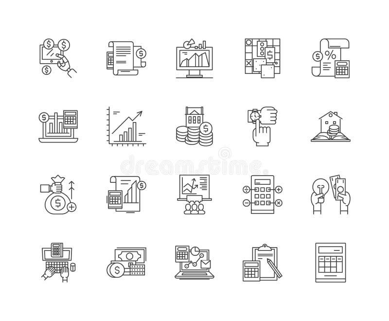 Ligne ic?nes, signes, ensemble de vecteur, concept d'?valuation d'illustration d'ensemble illustration stock