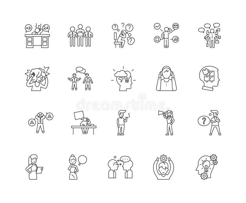 Ligne ic?nes, signes, ensemble de vecteur, concept de dette d'illustration d'ensemble illustration libre de droits
