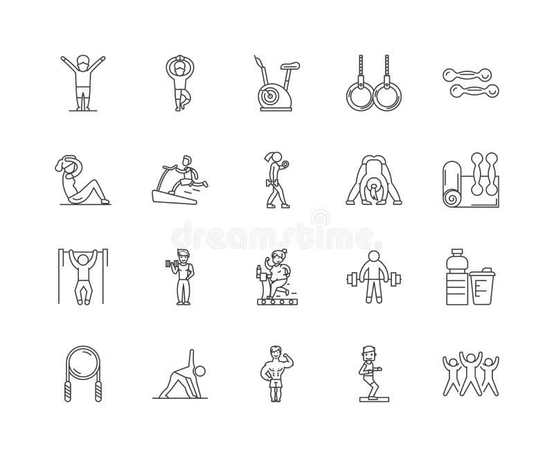 Ligne ic?nes, signes, ensemble de vecteur, concept de gymnase d'illustration d'ensemble illustration stock