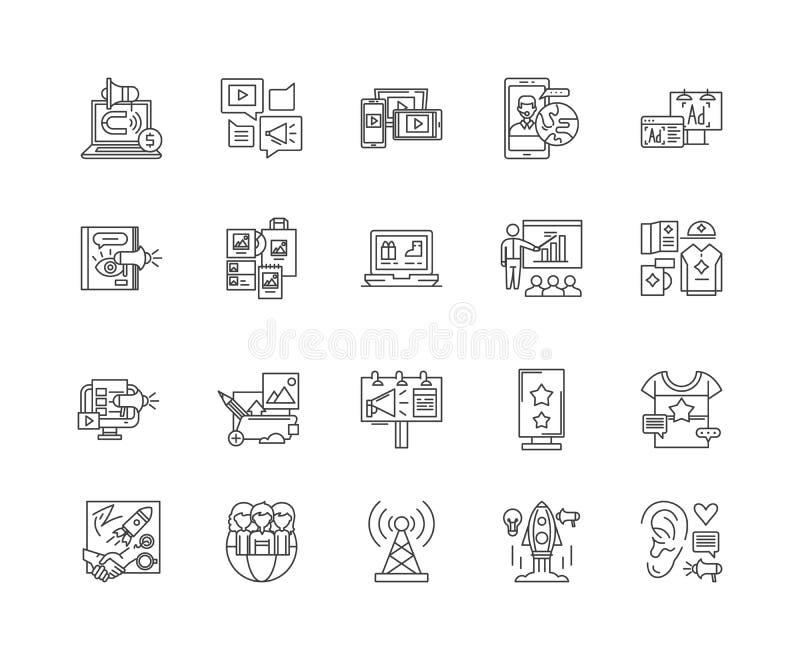 Ligne ic?nes, signes, ensemble de vecteur, concept de promotion d'affaires d'illustration d'ensemble illustration de vecteur