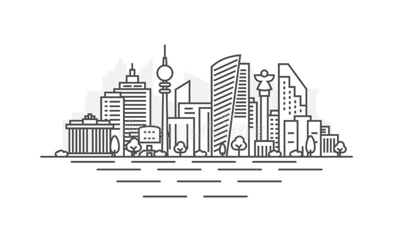 Ligne illustration d'architecture de Berlin, Allemagne d'horizon Paysage urbain lin?aire de vecteur avec les points de rep?re c?l illustration libre de droits