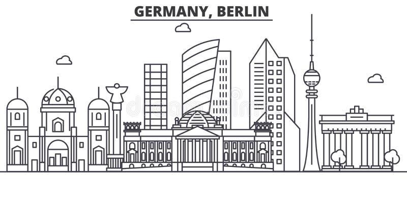 Ligne illustration d'architecture de l'Allemagne, Berlin d'horizon Paysage urbain linéaire de vecteur avec les points de repère c illustration stock