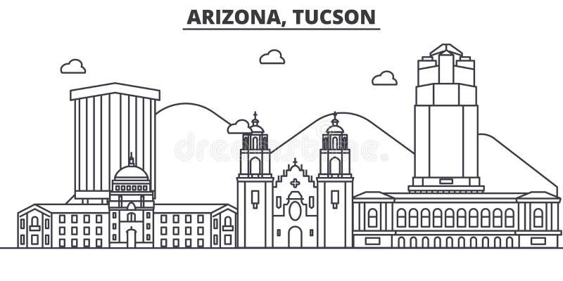 Ligne illustration d'architecture de l'Arizona Tucson d'horizon Paysage urbain linéaire de vecteur avec les points de repère célè illustration stock