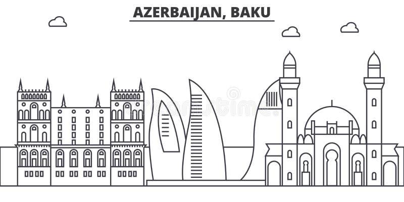 Ligne illustration d'architecture de l'Azerbaïdjan, Bakou d'horizon Paysage urbain linéaire de vecteur avec les points de repère  illustration libre de droits