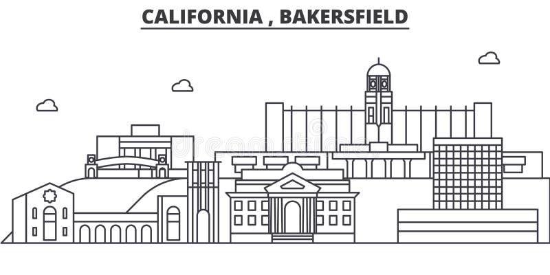 Ligne illustration d'architecture de la Californie, Bakersfield d'horizon Paysage urbain linéaire de vecteur avec les points de r illustration de vecteur