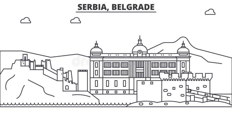 Ligne illustration d'architecture de la Serbie, Belgrade d'horizon Paysage urbain linéaire de vecteur avec les points de repère c illustration de vecteur