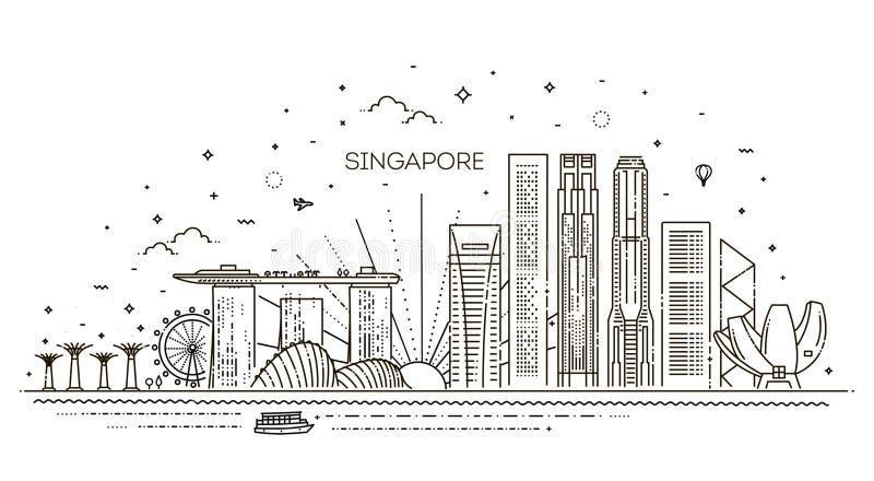 Ligne illustration d'architecture de Singapour d'horizon Paysage urbain linéaire de vecteur avec les points de repère célèbres illustration stock