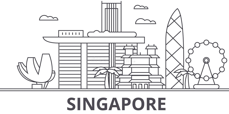 Ligne illustration d'architecture de Singapour d'horizon Paysage urbain linéaire de vecteur avec les points de repère célèbres, v illustration stock