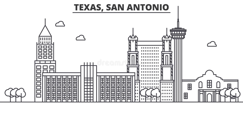 Ligne illustration d'architecture de Texas San Antonio d'horizon Paysage urbain linéaire de vecteur avec les points de repère cél illustration de vecteur