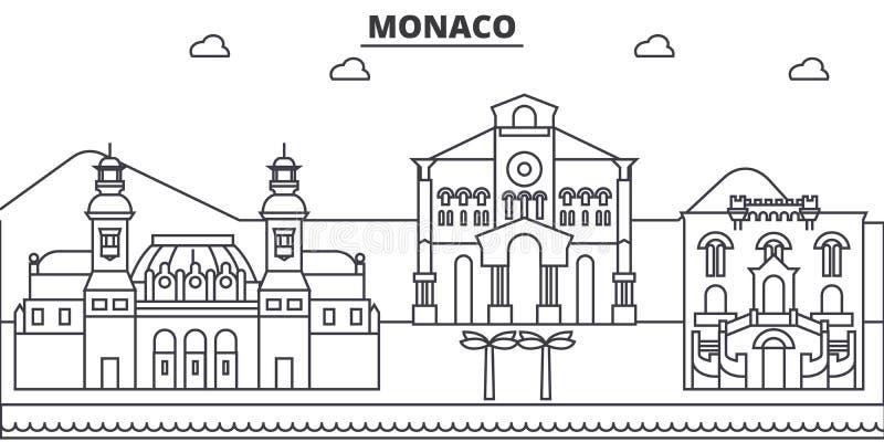 Ligne illustration d'architecture du Monaco d'horizon Paysage urbain linéaire de vecteur avec les points de repère célèbres, vues illustration de vecteur