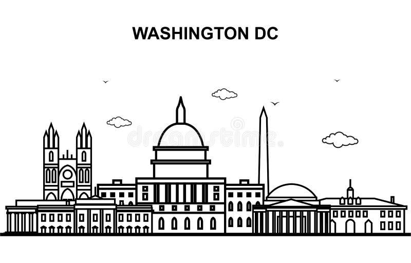 Ligne illustration d'horizon de paysage urbain de visite de ville de Washington DC d'ensemble illustration stock