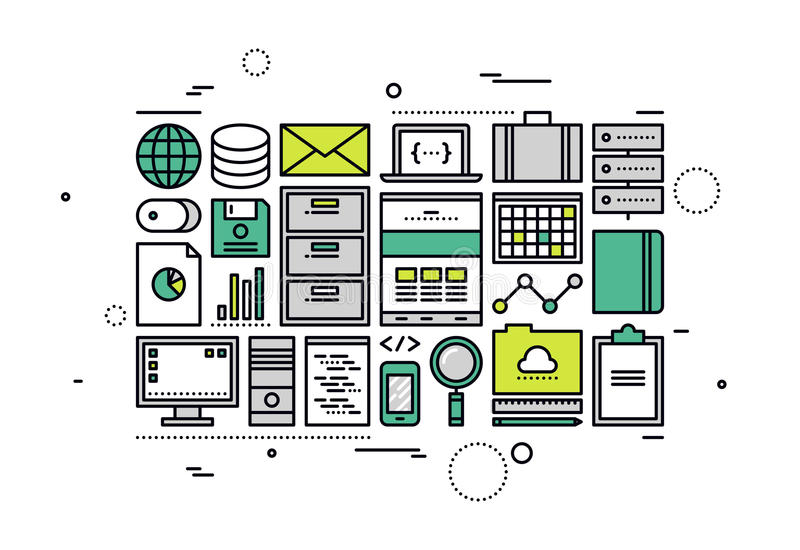 Ligne illustration de comptabilité de bureau de Digital de style illustration libre de droits