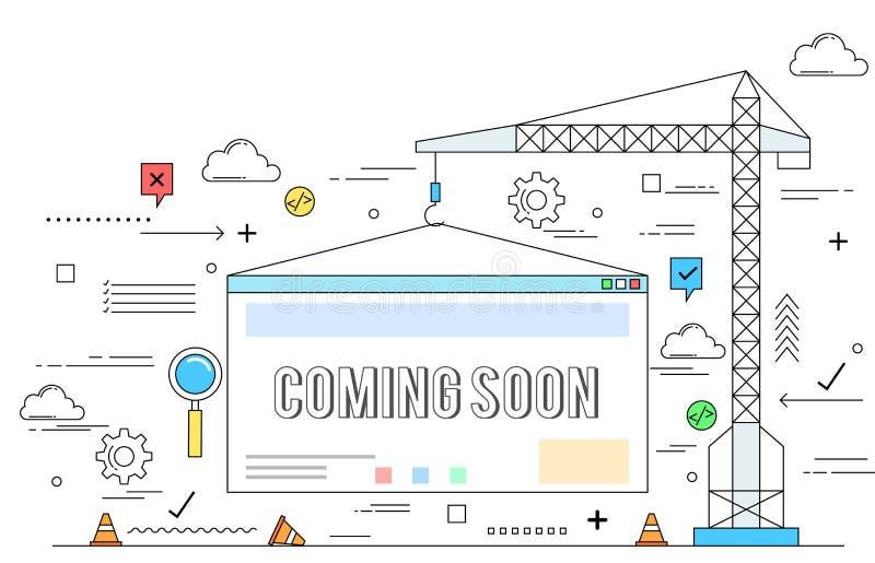 Ligne illustration de concept de construction de site Web de style illustration de vecteur