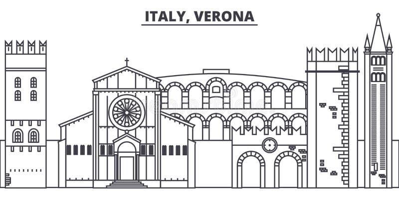 Ligne illustration de l'Italie, Vérone de vecteur d'horizon L'Italie, paysage urbain linéaire de Vérone avec les points de repère illustration de vecteur