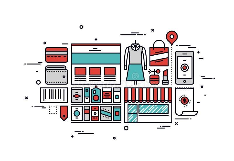 Ligne illustration de marchandises d'achats de style illustration libre de droits