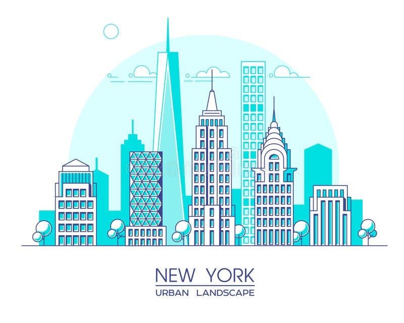 Ligne illustration de New York City de vecteur Bâtiments et gratte-ciel célèbres Paysage urbain illustration stock