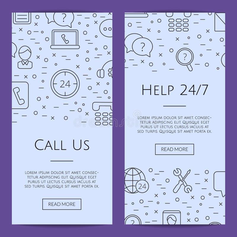 Ligne illustration de vecteur de calibres de bannière de Web d'icônes de centre d'assistance d'appel illustration libre de droits