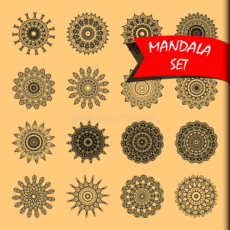 Ligne illustration réglée de vecteur de mandala illustration de vecteur