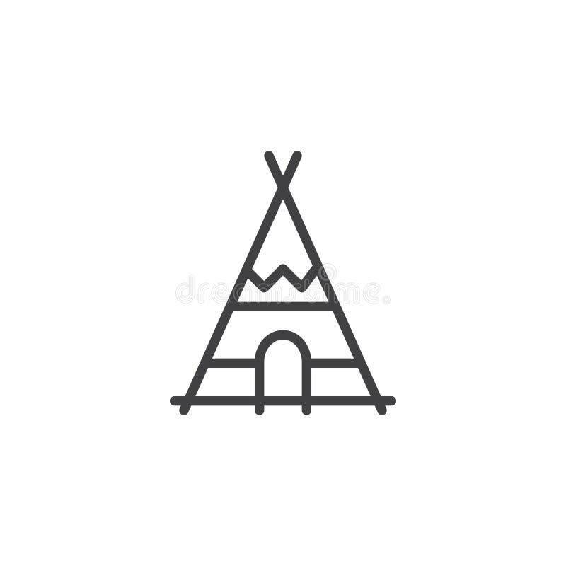 Ligne indienne icône de tepee illustration libre de droits