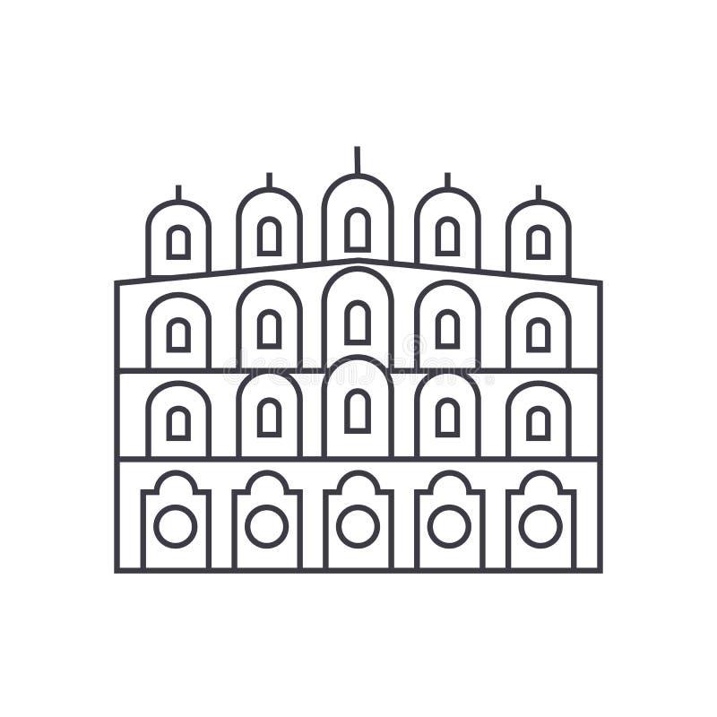 Ligne indienne icône, signe, illustration de vecteur de temple sur le fond, courses editable illustration stock