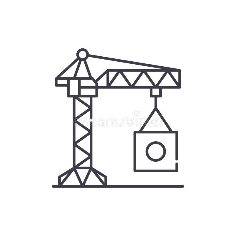 Ligne industrielle concept de grue d'icône Illustration linéaire de vecteur industriel de grue, symbole, signe illustration de vecteur
