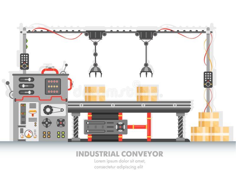 Ligne industrielle de fabrication avec le processus automatisé illustration stock