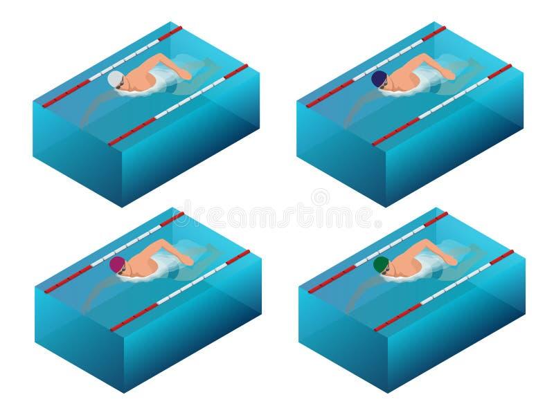 Ligne infographics intérieur d'intérieur de bain de sportif de course Illustration masculine isométrique plate de vecteur de nage illustration stock