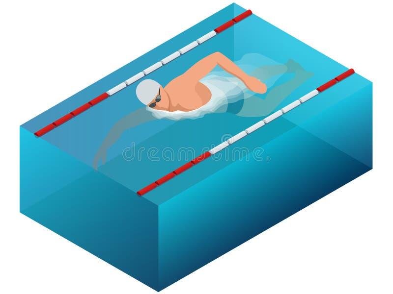Ligne infographics intérieur d'intérieur de bain de sportif de course Illustration masculine isométrique plate de vecteur de nage illustration de vecteur