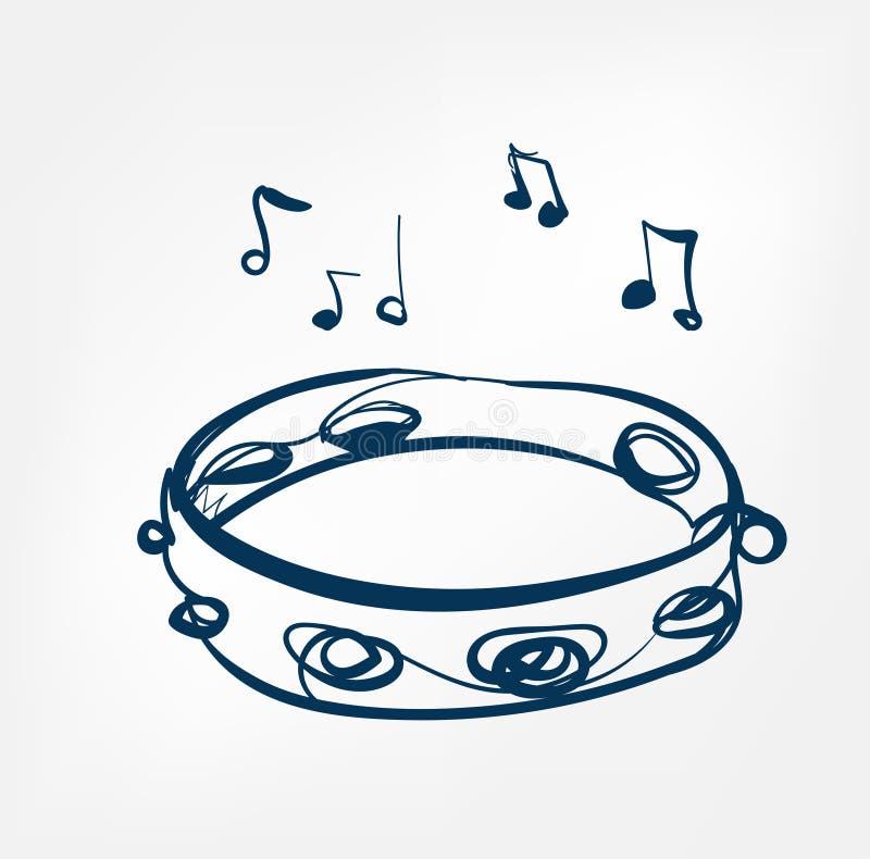Ligne instrument de croquis de tambour de basque de musique de conception illustration stock