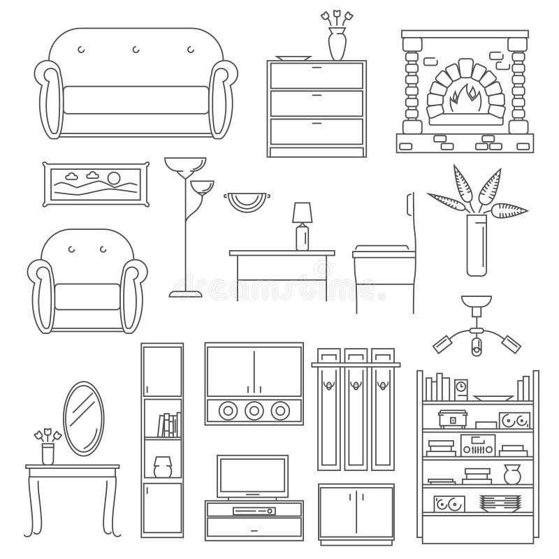 Ligne intérieure ensemble d'icônes illustration libre de droits