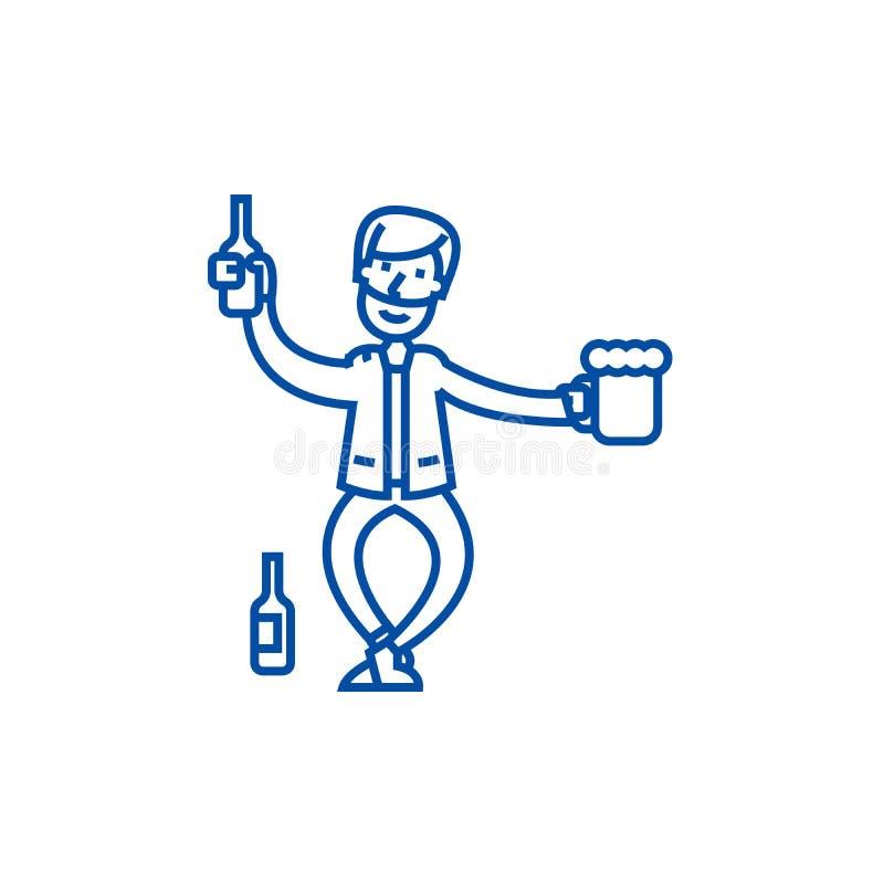 Ligne ivre concept d'homme d'icône Symbole plat bu de vecteur d'homme, signe, illustration d'ensemble illustration stock