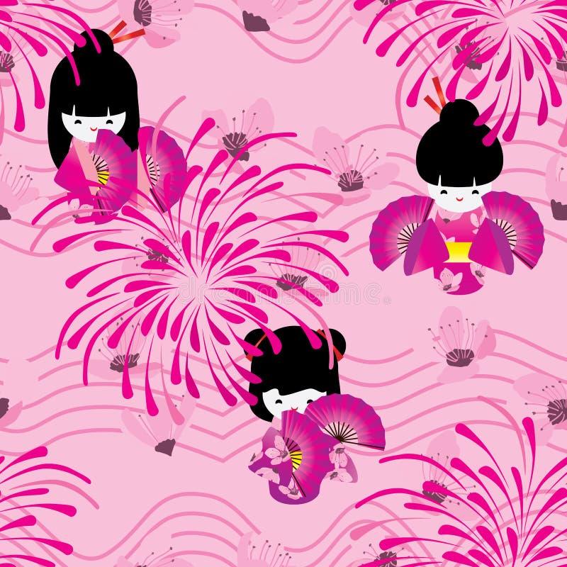 Ligne japonaise modèle sans couture de vague de feu d'artifice de Sakura de rose de poupée illustration de vecteur