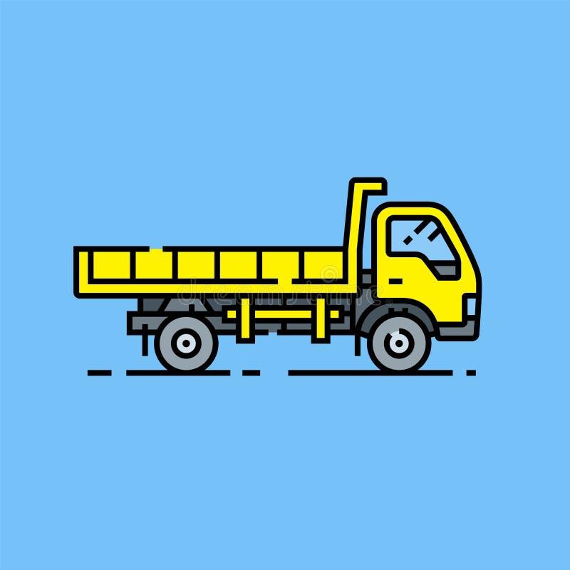 Ligne jaune icône de camion à benne basculante illustration de vecteur