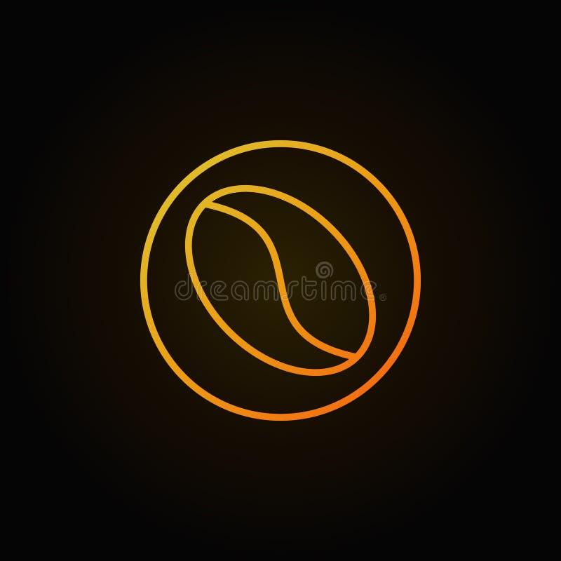 Ligne jaune icône de vecteur de grain de café sur le fond foncé illustration libre de droits