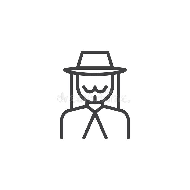 Ligne juive icône d'avatar d'homme illustration stock