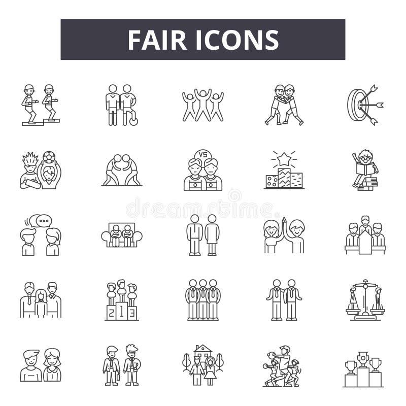 Ligne juste icônes, signes, ensemble de vecteur, concept d'illustration d'ensemble illustration libre de droits