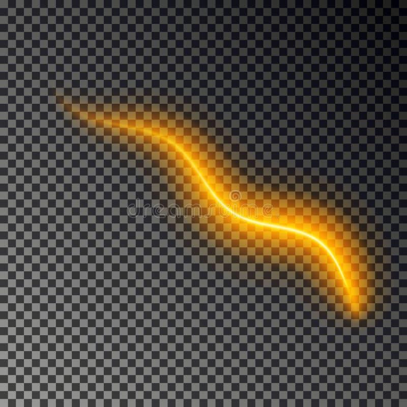 Ligne légère effet, vecteur d'or Trace légère rougeoyante du feu Effet magique de traînée de remous de scintillement d'isolement illustration stock