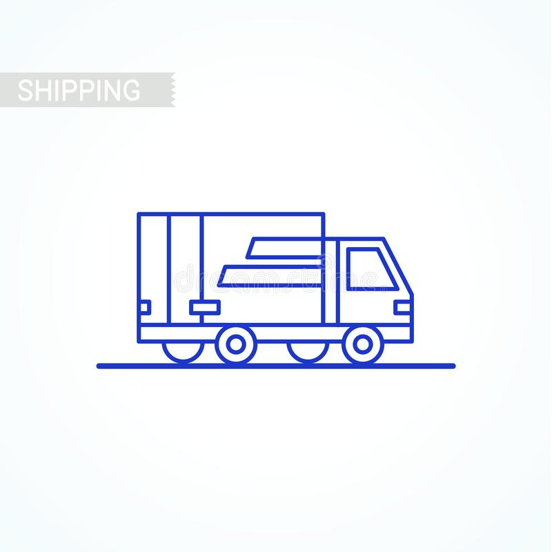Ligne la livraison d'icône Icône de Van outline sur le fond blanc Service de distribution Expédition par la voiture ou camion Col illustration libre de droits