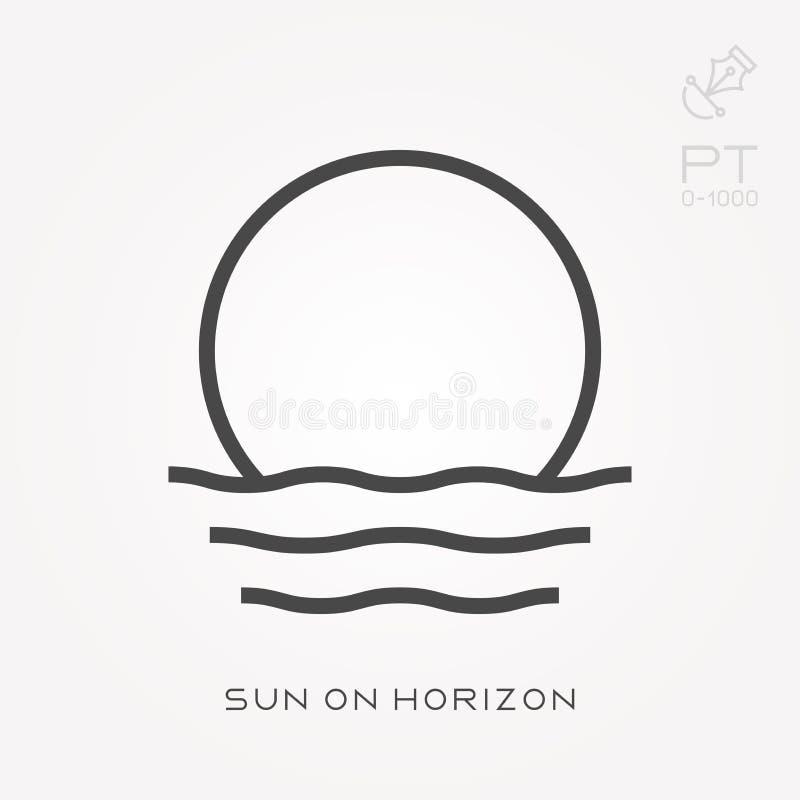 Ligne le soleil d'icône sur l'horizon illustration stock
