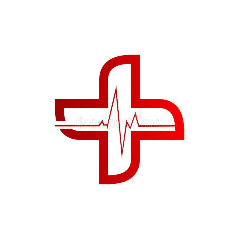 Ligne logo de battement de coeur pendant la vie et la médecine healty illustration stock