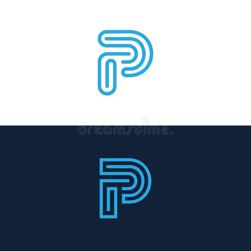 Ligne logo de la lettre P illustration libre de droits