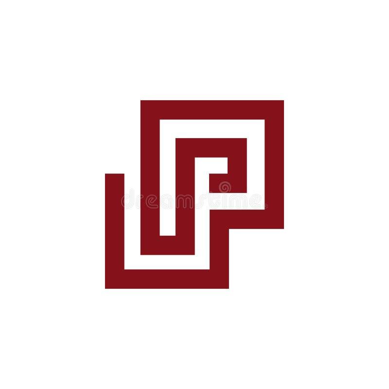 Ligne Logo Template de lettre de Maze Abstract P de labyrinthe illustration libre de droits