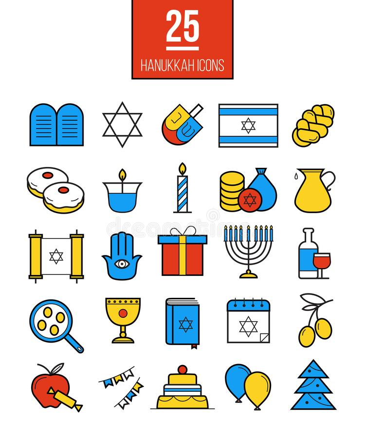 Ligne lumineuse icônes de Hanoucca réglées Symboles juifs modernes de culture illustration libre de droits