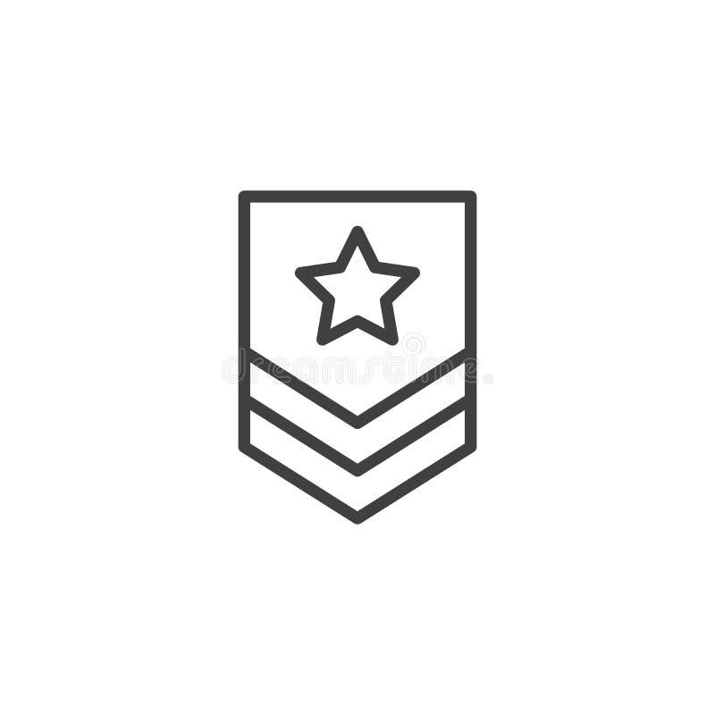 Ligne luxuriante militaire icône illustration stock