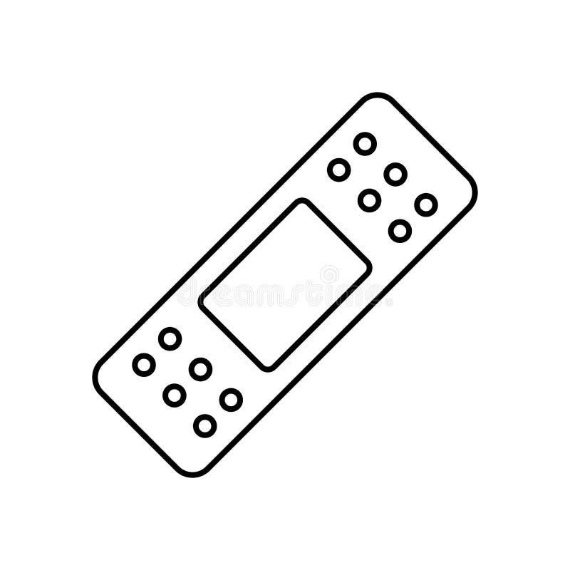 Ligne médicale élastique icône, noir de plâtre de bandage adhésif d'isolement sur le fond blanc, illustration illustration libre de droits