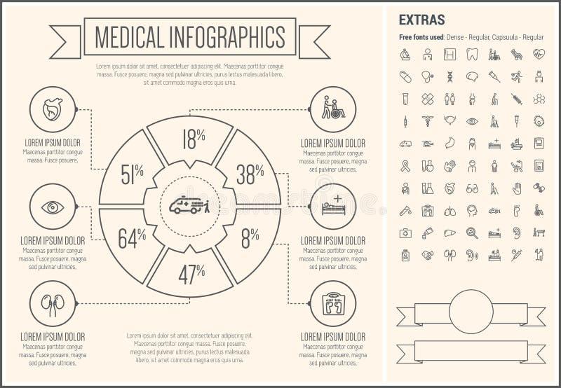 Ligne médicale calibre d'Infographic de conception illustration de vecteur